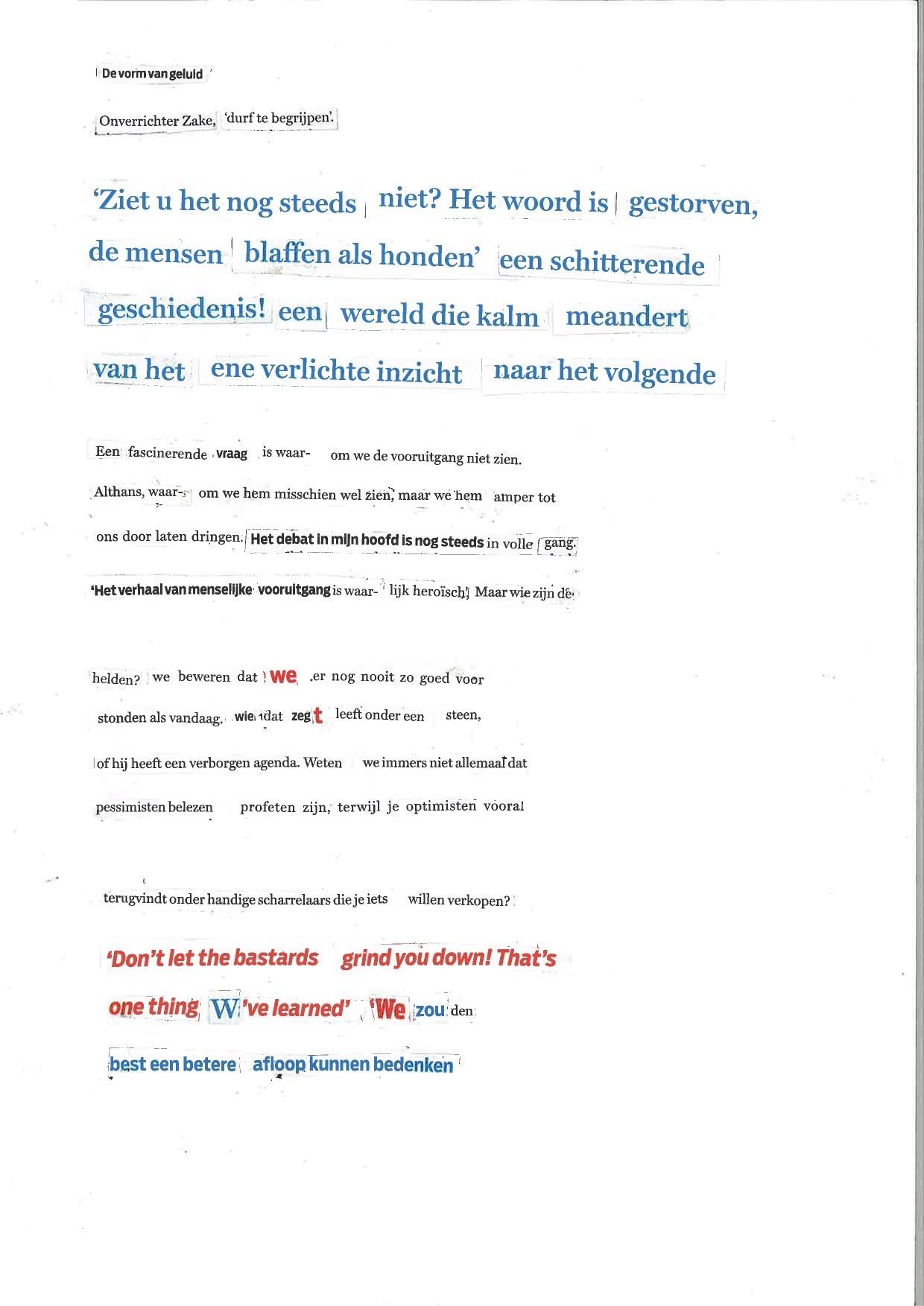 Geknipte gedichten, de vorm van geluid.collage