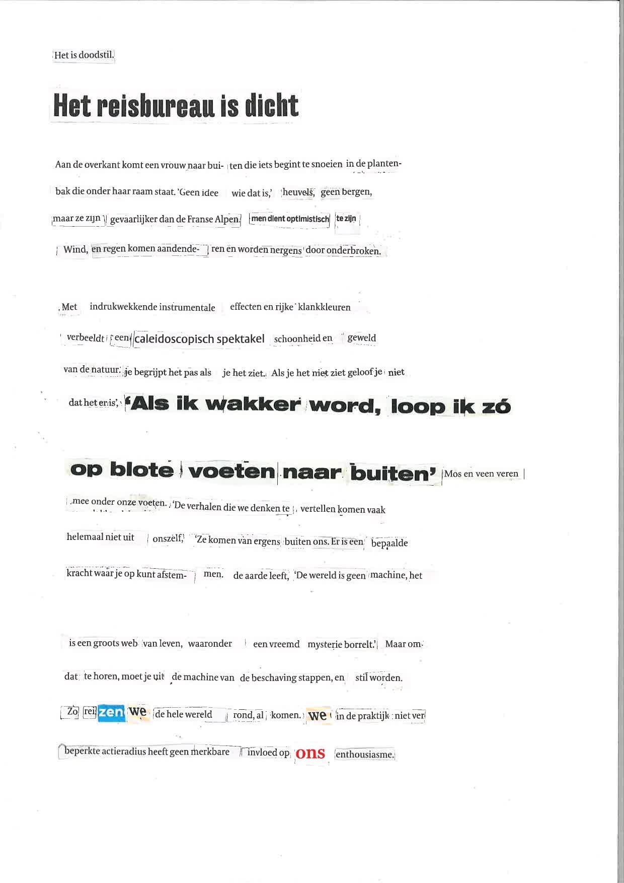 Geknipte gedichten, het is doodstil.collage