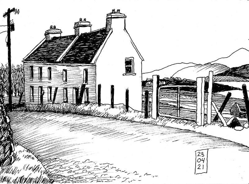 House in the road, Corraun, Mayo, Ireland © Peti Buchel